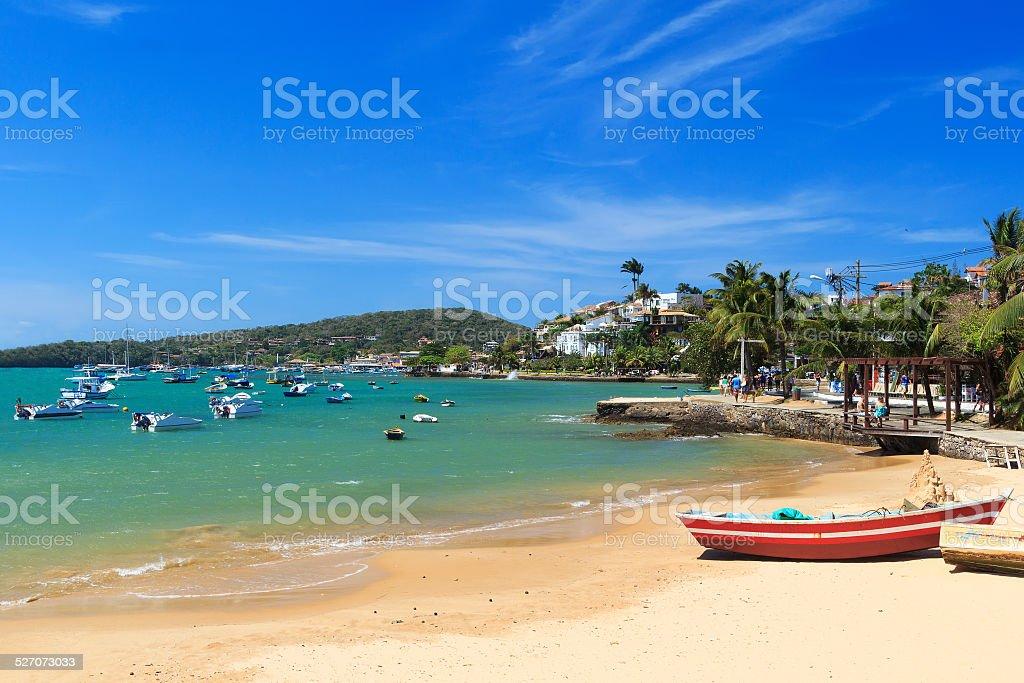 Beach Armacao dos Buzios sea boats, Rio de Janeiro, Brazil stock photo