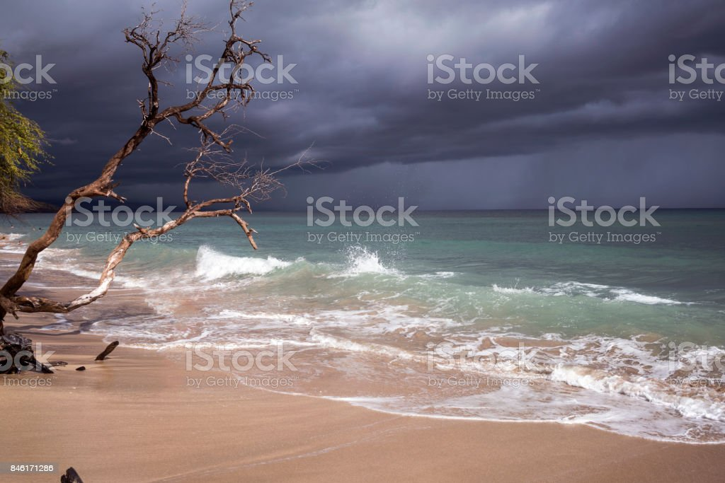 Beach as storm approaches stock photo