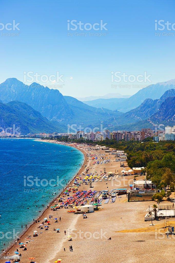 Beach at Antalya Turkey stock photo