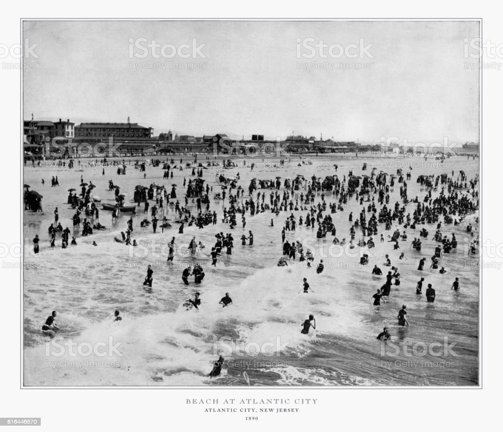 Beach at Atlantic City, New Jersey, United States, Antique American Photograph, 1893 stock photo