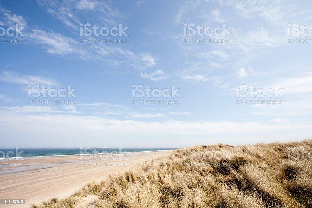 Beach at Bamburgh, Northumberland, UK stock photo