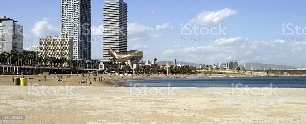 Beach at Barcelona. Spain royalty-free stock photo