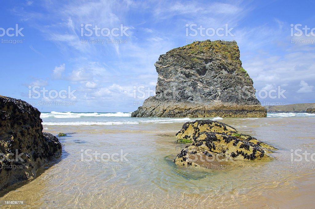 Beach at Bedruthan steps, Cornwall, UK royalty-free stock photo