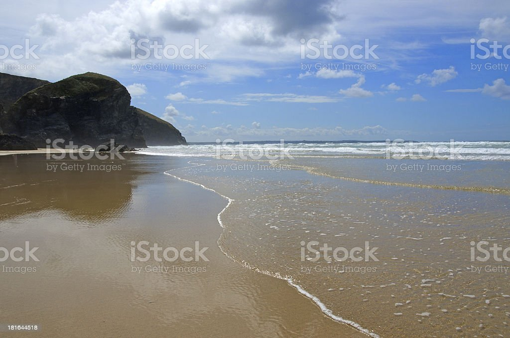 Beach at Bedruthan steps, Cornwall, UK royalty-free stock photo