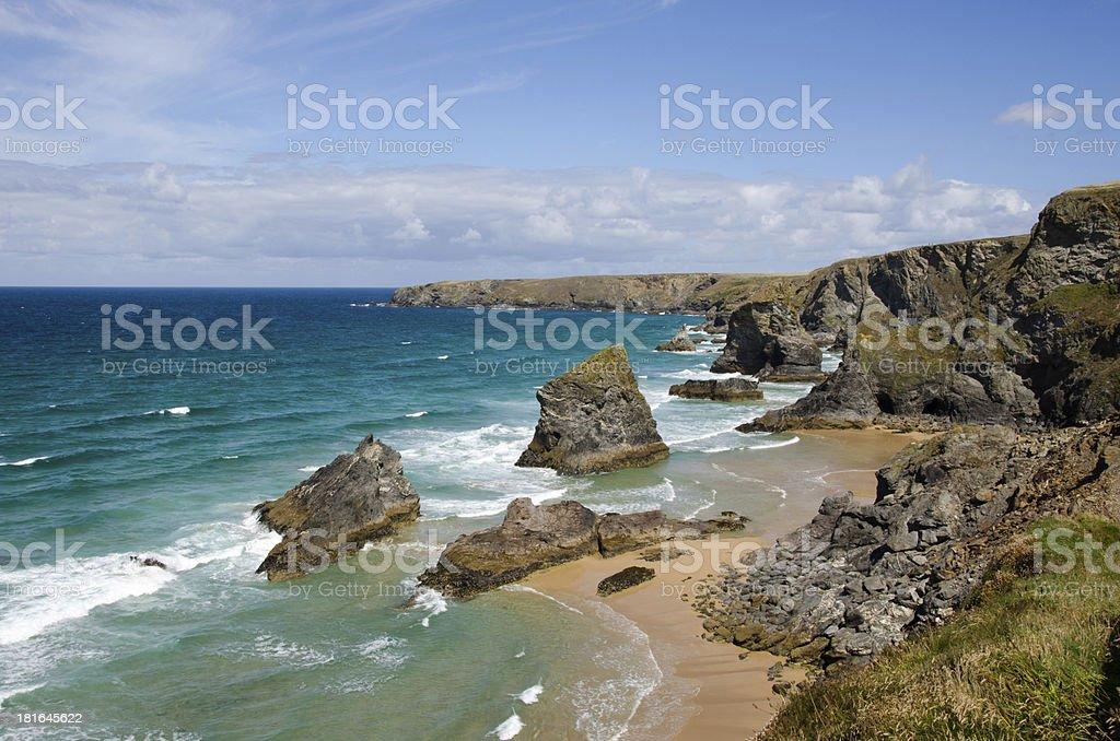 Beach at Bedruthan steps, Cornwall, UK stock photo