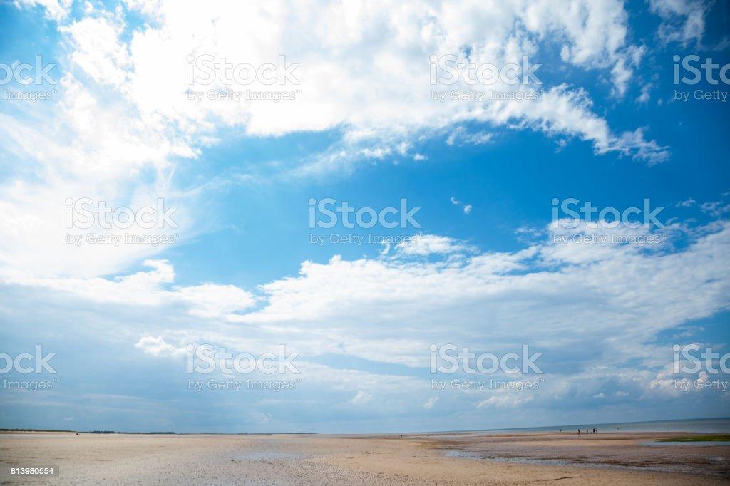 beach at Brancaster Norfolk England stock photo