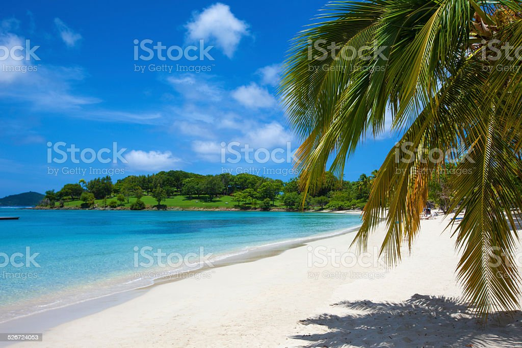 beach at Caneel Bay, St. John, US Virgin Islands stock photo