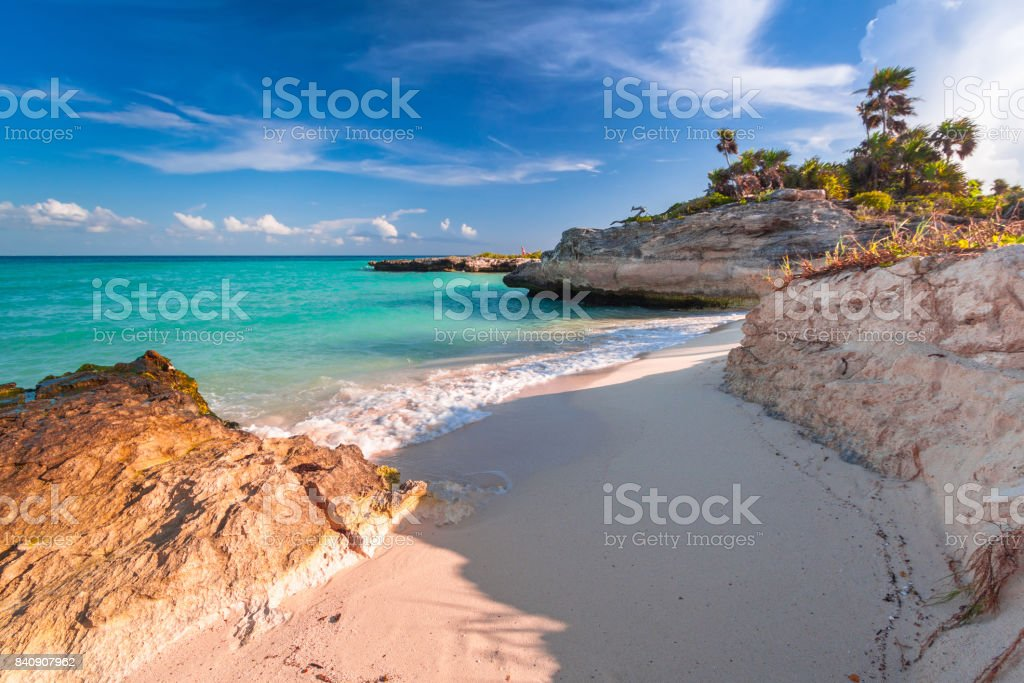 Beach at Caribbean sea in Playa del Carmen stock photo