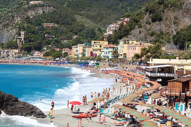 Beach At Cinque Terre Village Monterosso And Mediterranean Sea Italy Stock Photo