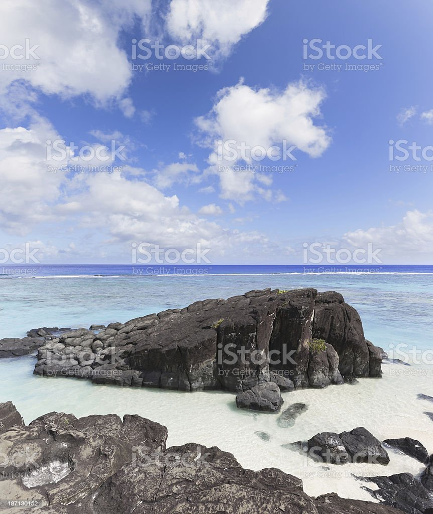 Beach at Cook Island in Polynesia royalty-free stock photo