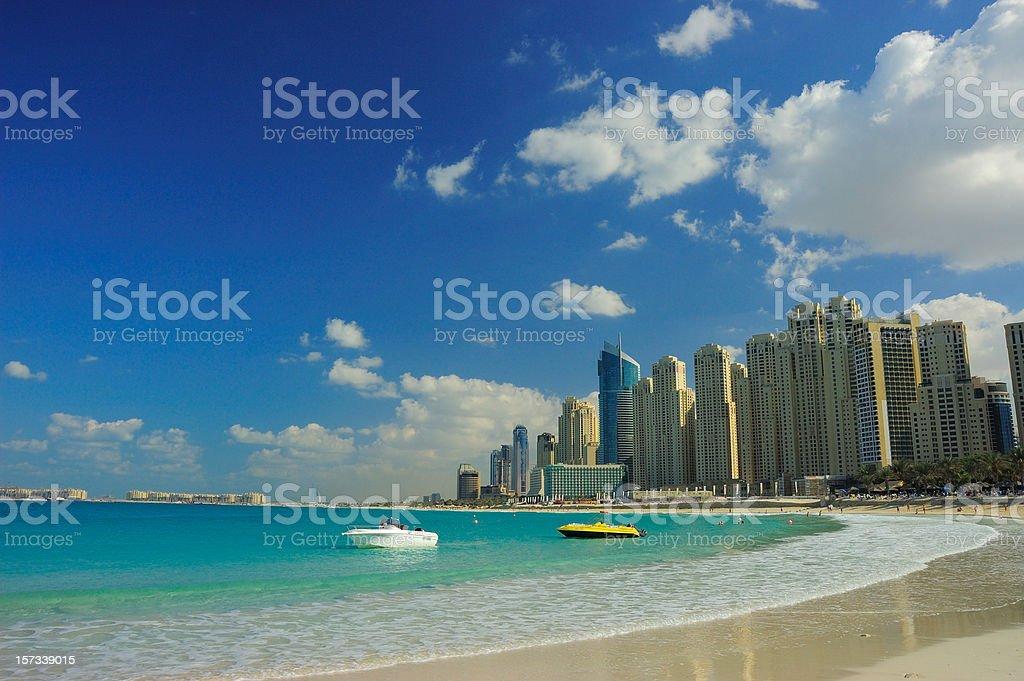 Beach at Dubai Marina on a beautiful day stock photo
