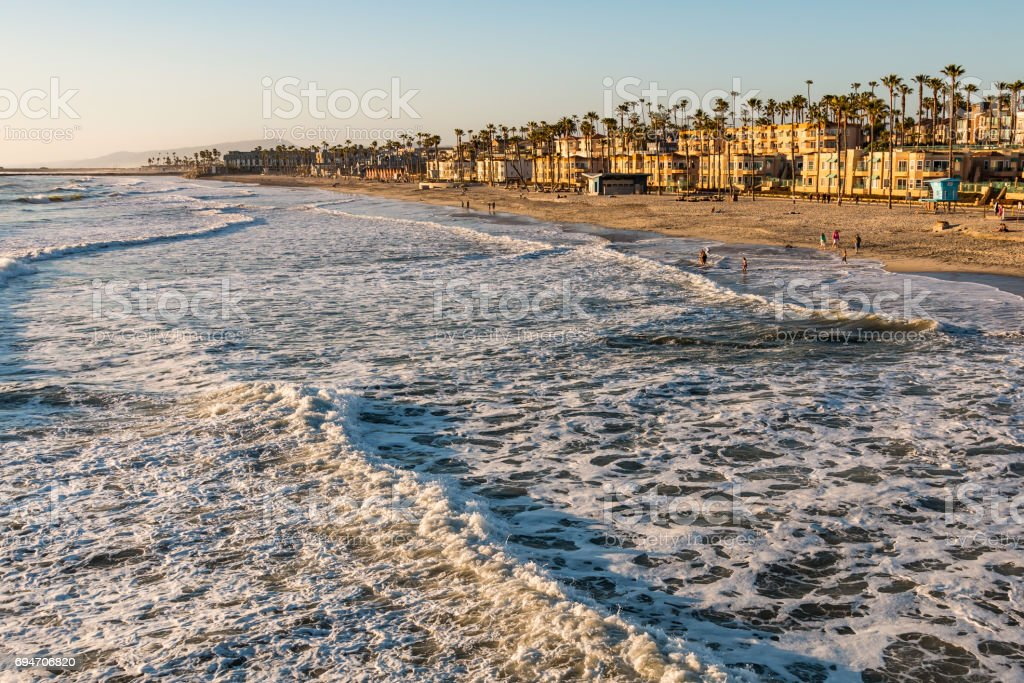 Beach at Dusk in Oceanside, California stock photo
