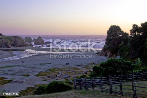A beach in Fort Bragg California at dusk