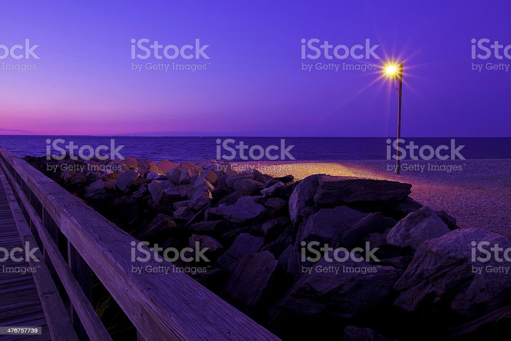 Beach at evening royalty-free stock photo