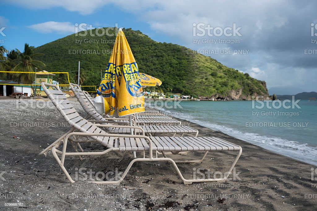 Beach at Frigate Bay on St. Kitts stock photo