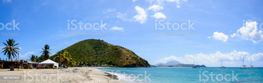 Beach at Frigate Bay on the island of Saint Kitts stock photo