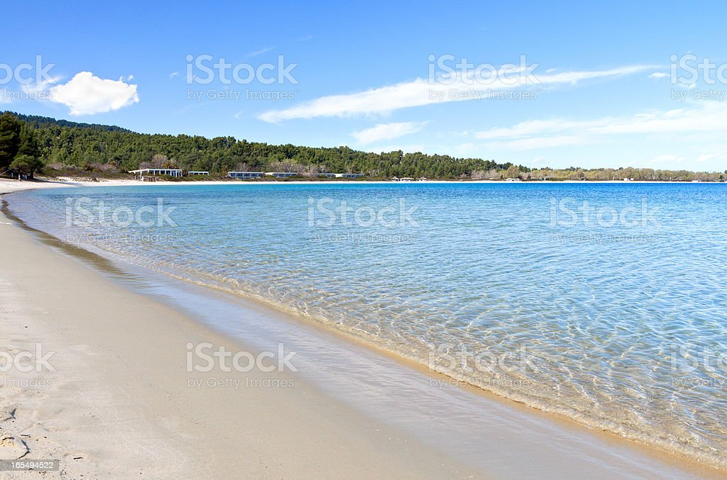 Beach at Halkidiki peninsula in Greece stock photo