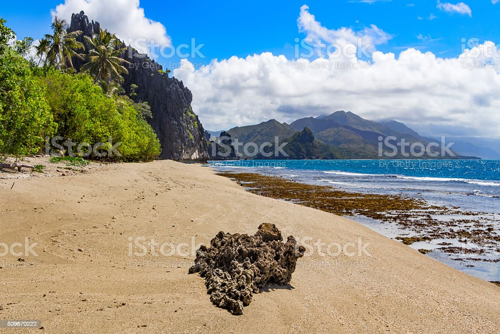 Beach at Hienghene Bay New Caledonia stock photo