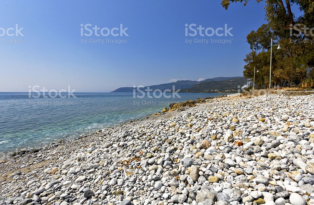 Beach at Kardamyli village in Greece stock photo