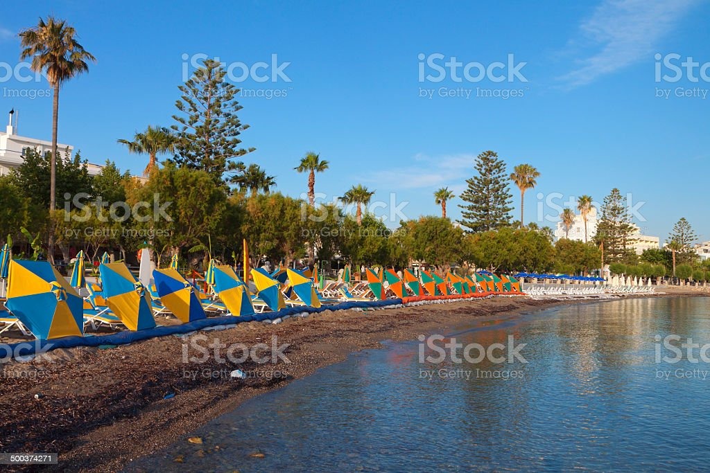 Beach at Kos island in Greece stock photo