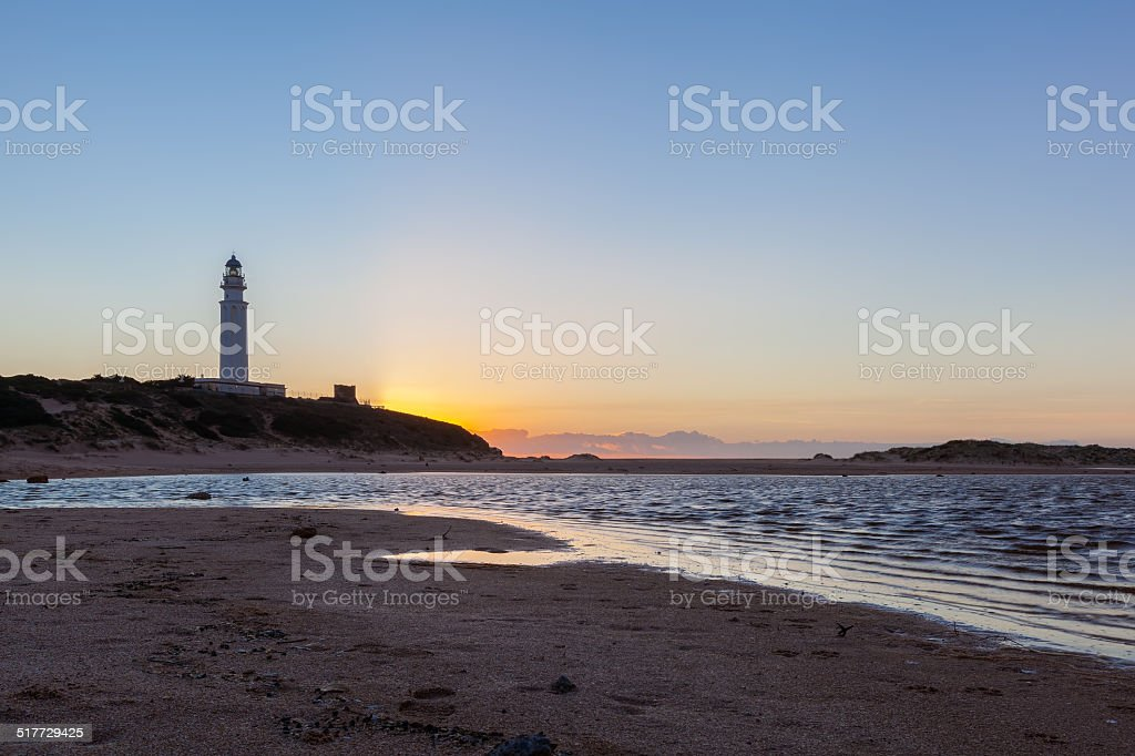 Beach at Lighthouse at Cape Trafalgar stock photo
