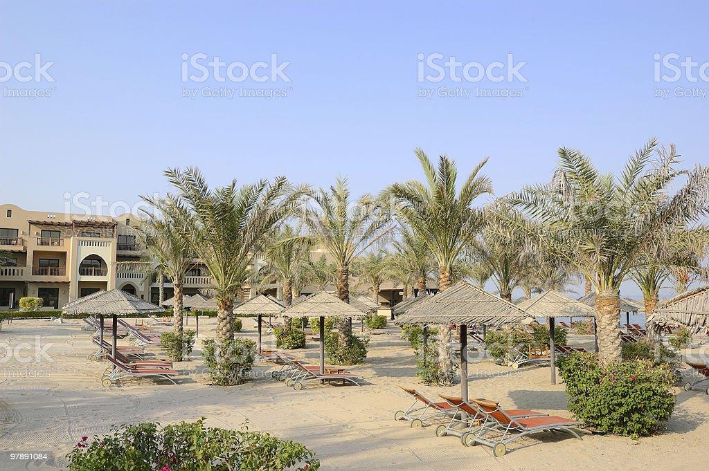Beach at luxury hotel, Dubai, UAE royalty-free stock photo
