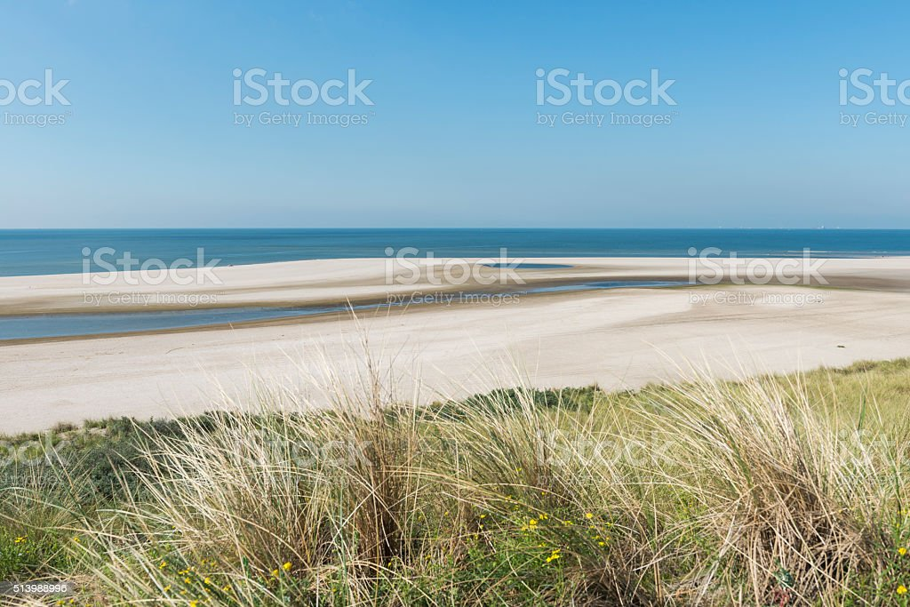 Beach at Maasvlakte Rotterdam stock photo