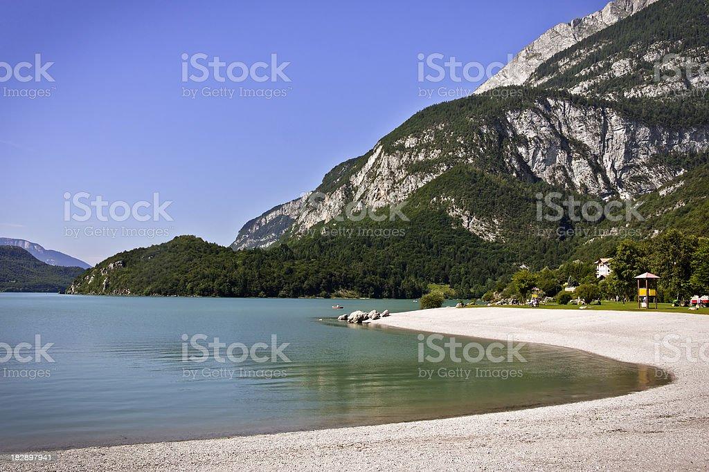 Beach at Molveno Lake, Dolomites in Summer stock photo