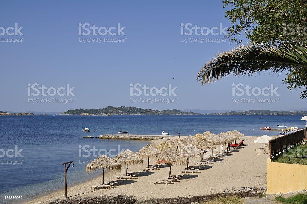 Beach at Ouranoupoli, Athos peninsula, Greece stock photo
