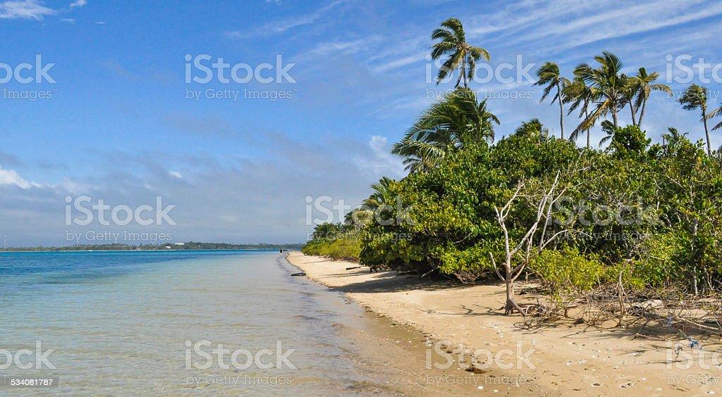 Beach at Pangaimotu Island stock photo