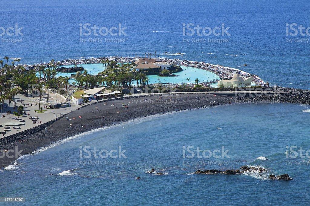 beach at Puerto de la Cruz, Tenerife, Spain stock photo