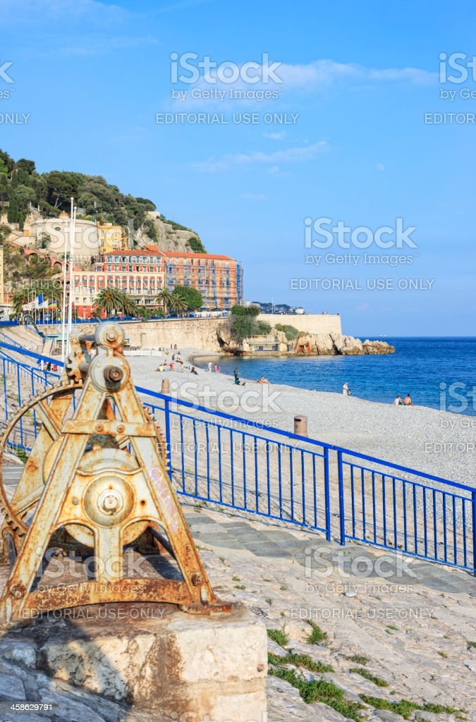 Beach at Quai des Etats-Unis, Nice, French Riviera stock photo