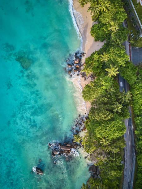 Strand auf den Seychellen Luft ansicht – Foto