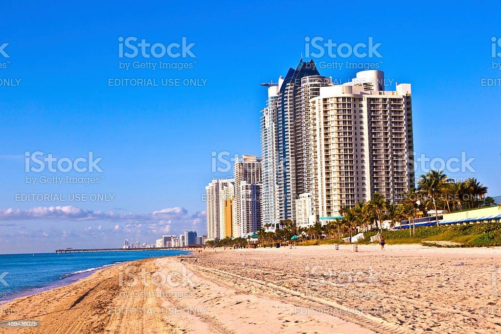 beach at Sunny Islands, miami early morning stock photo