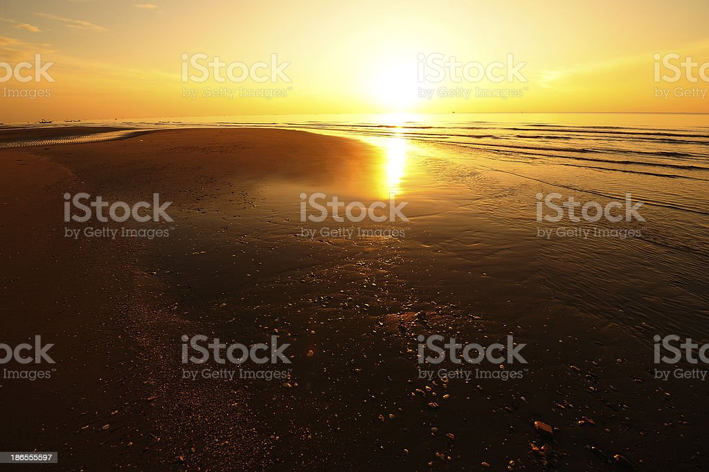 Beach at Sunrise Background royalty-free stock photo