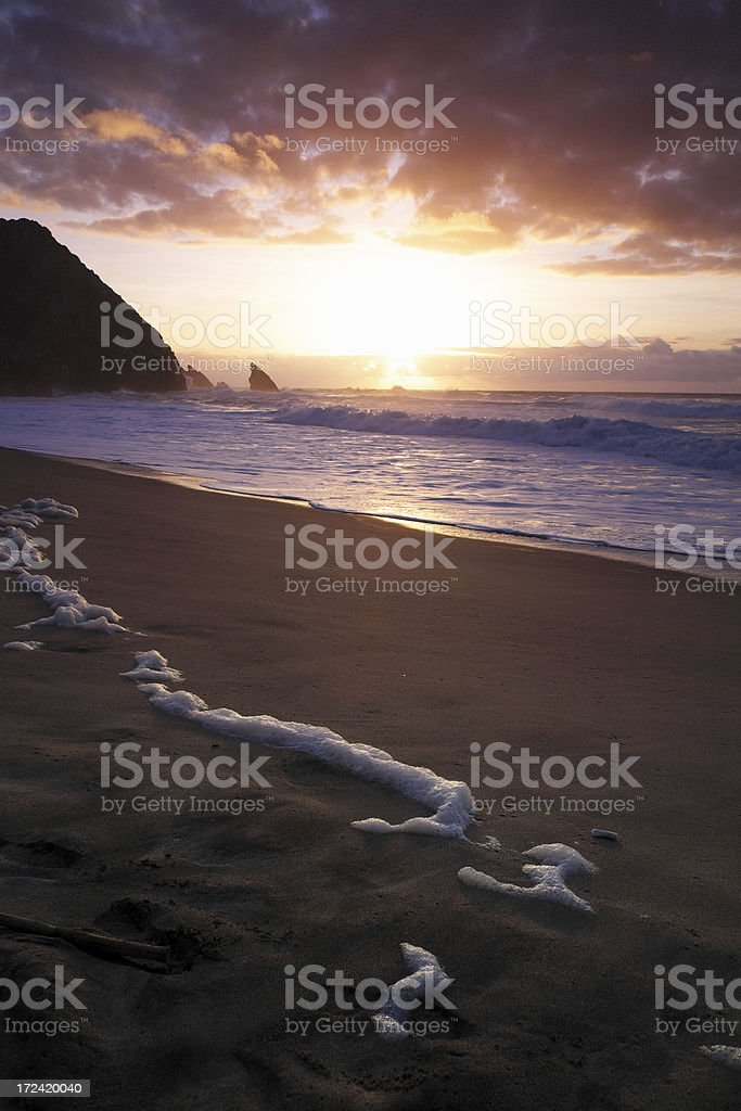 Beach at Sunset in Sintra royalty-free stock photo
