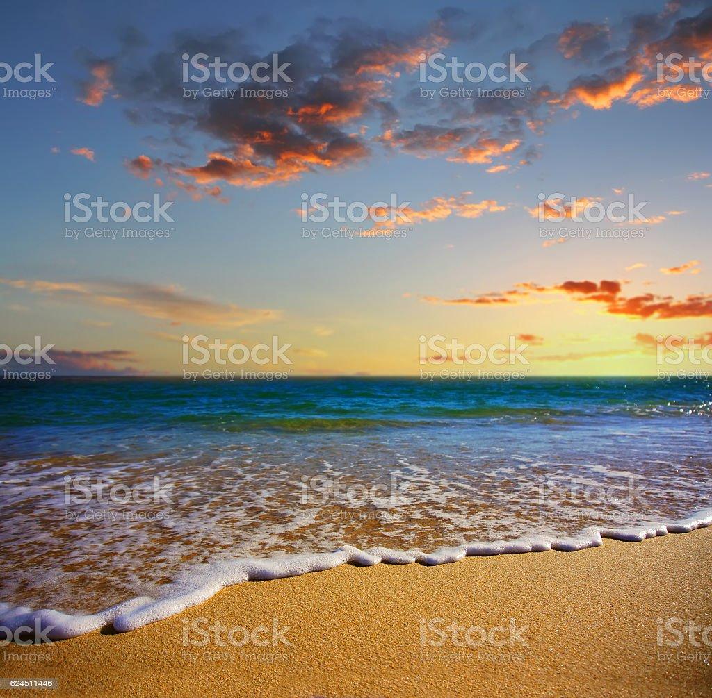 beach at sunset, Lagos, Portugal - fotografia de stock