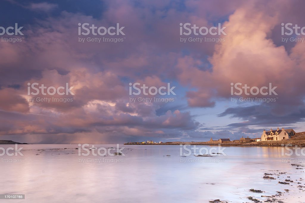 Beach at sunset, Sumburgh on Shetland with storm clouds royalty-free stock photo