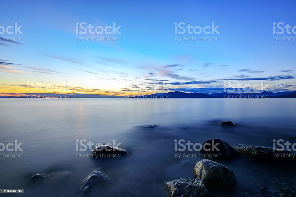 beach at sunset, Vancouver, British Columbia, Canada stock photo