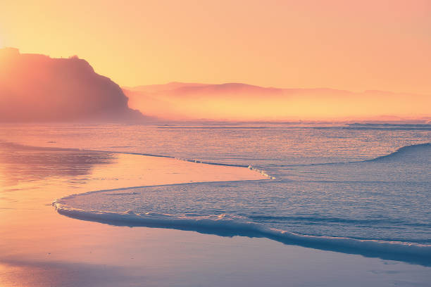 beach at sunset with wave foam on shore stock photo