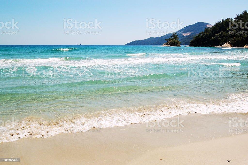 Beach at the luxury hotel, Thassos island, Greece stock photo