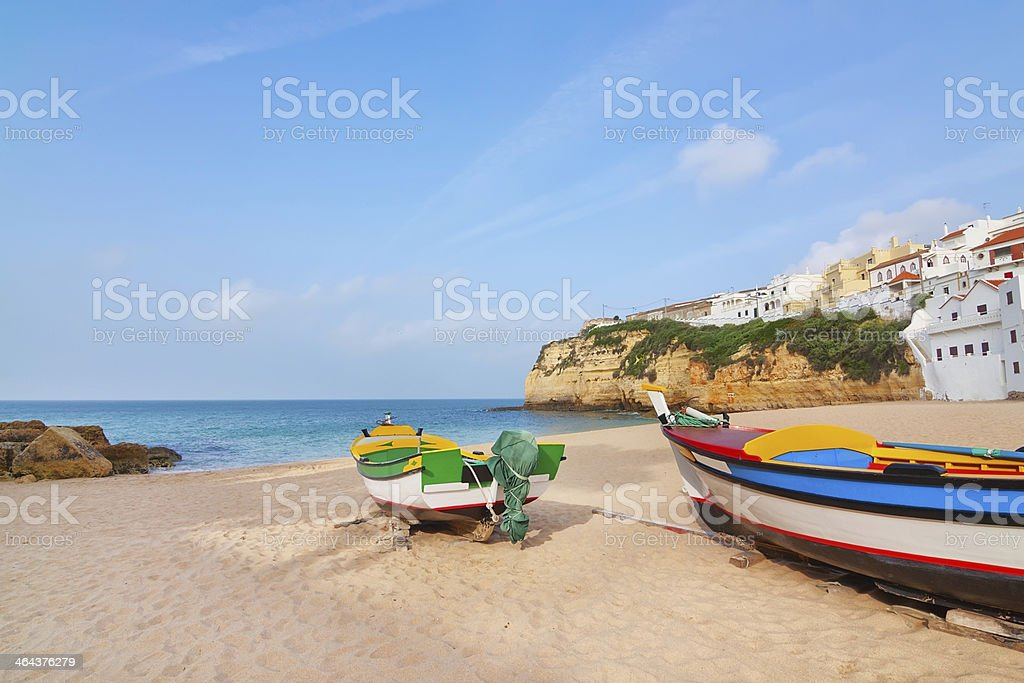 Beach at the village of Carvoeiro with fishing boats. royalty-free stock photo