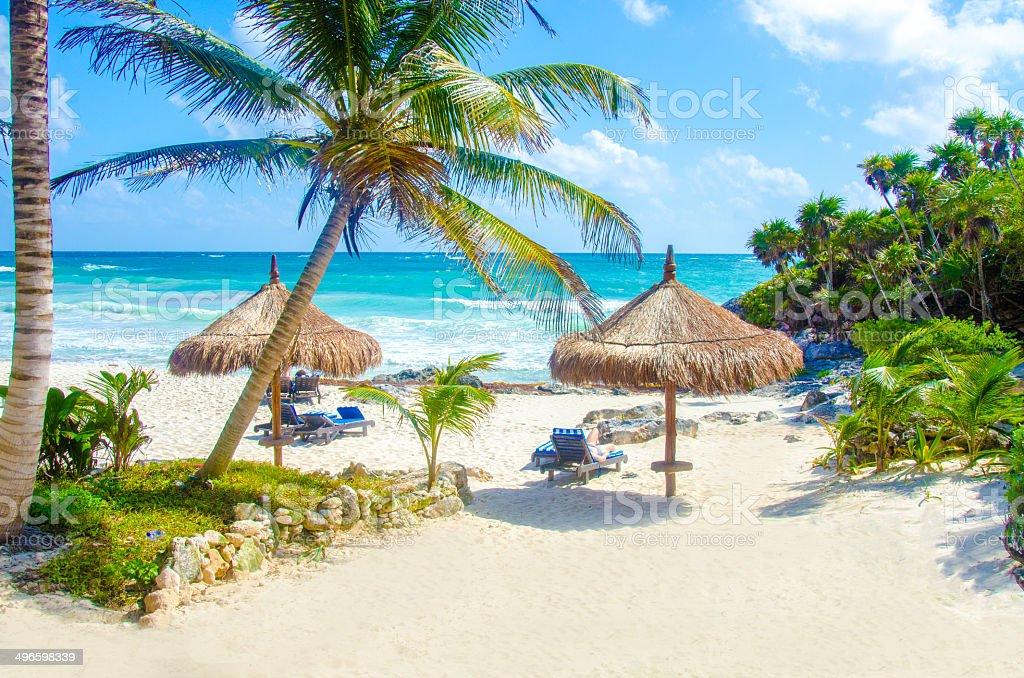 Beach at Tulum stock photo
