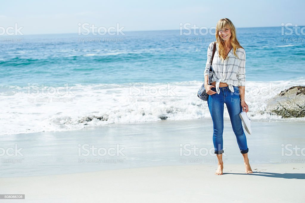 Beach babe portrait stock photo