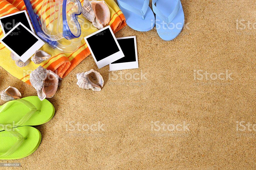 Beach background with blank photos stock photo