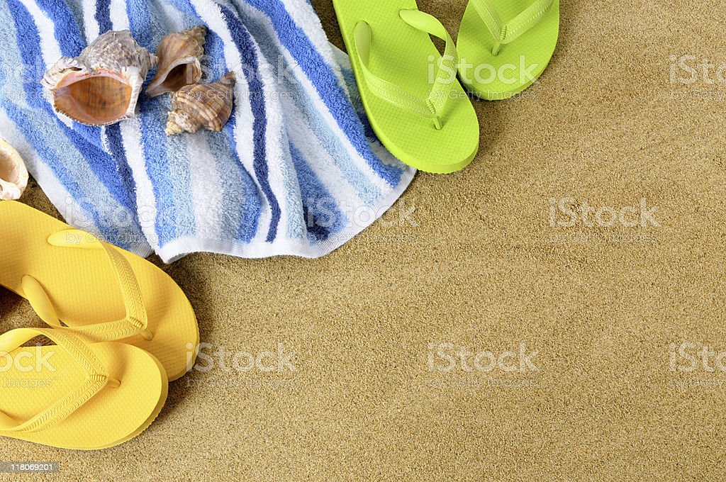 Beach background with flip flops royalty-free stock photo