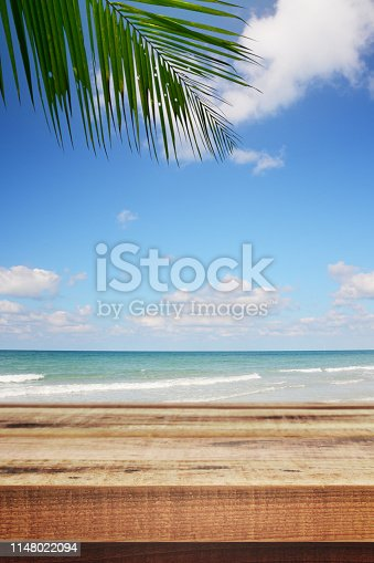 Beach background with palm tree and empty wooden.