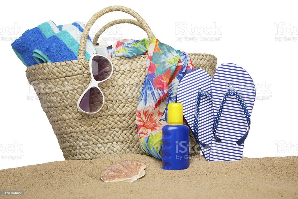 Beach bag and accessories stock photo
