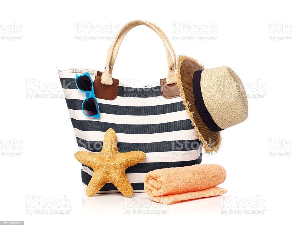 Beach bag concept stock photo