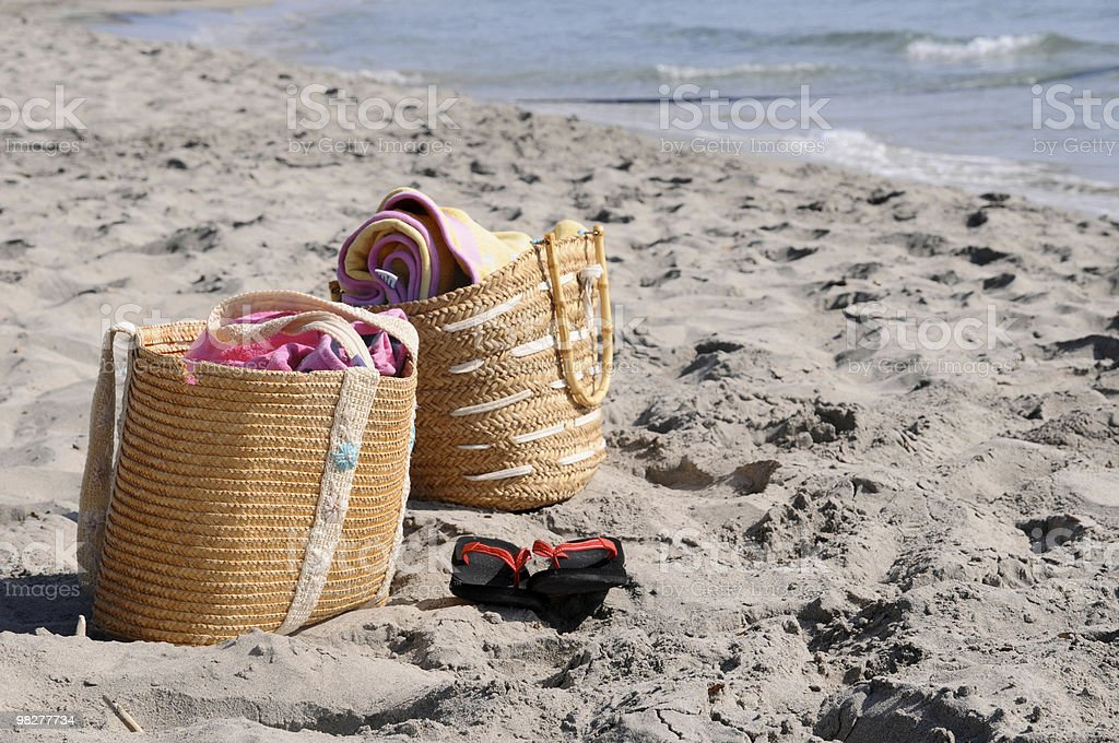 beach bag, flip-flop and bath towel royalty-free stock photo